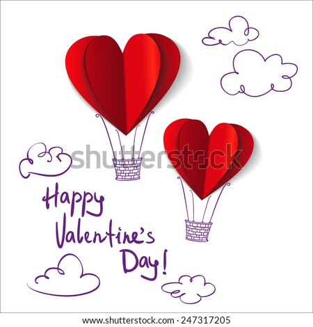 Heart-shaped hot air balloons background vector llustration - stock vector