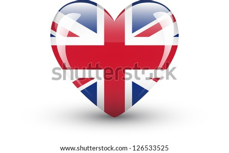Heart-shaped icon with national flag of the UK isolated on white background - stock vector