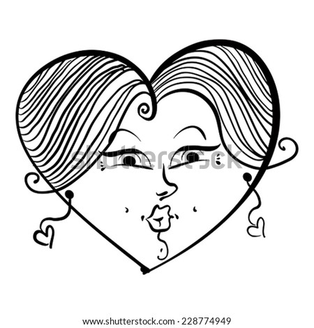 Heart shaped loving girl face, cute woman, black and white lines vector illustration.