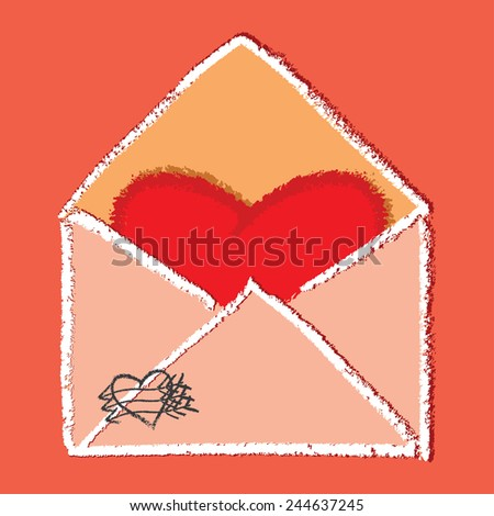 Heart shaped note in envelope - vector image - stock vector