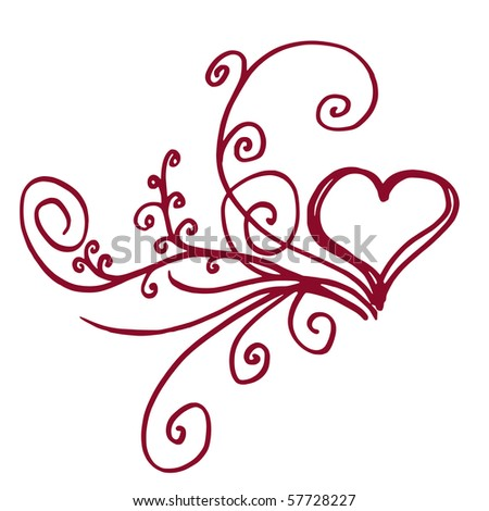 Heart shaped outline with floral details - stock vector