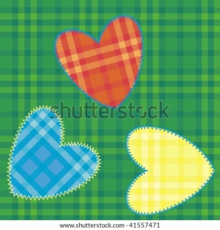 heart-shaped patch sewn onto fabric plaid - stock vector