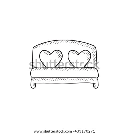 Heart shaped pillows on bed vector sketch icon isolated on background. Hand drawn Heart shaped pillows on bed icon. Heart shaped pillows on bed sketch icon for infographic, website or app. - stock vector