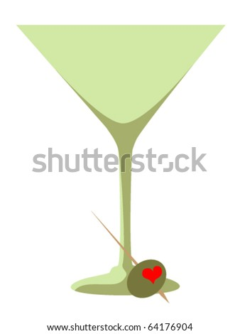 Heart Shaped Pimento Olive and Martini  Glass - stock vector