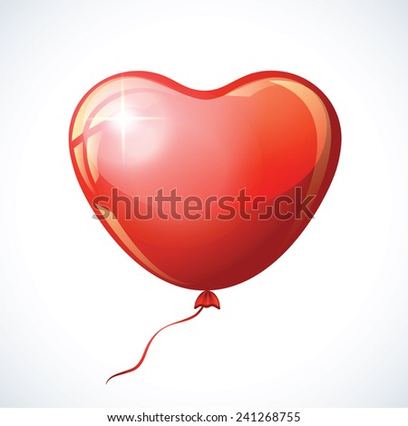 Heart shaped red balloon isolated on white. - stock vector