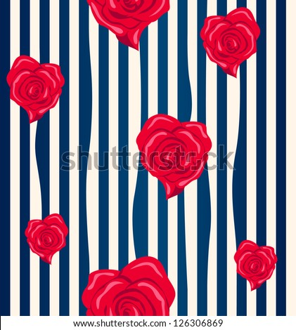 Heart-shaped roses seamless pattern - stock vector
