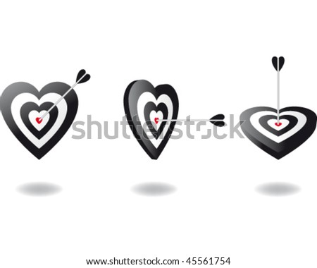 Heart shaped target with the arrow in the center of it