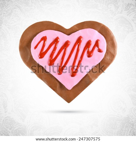 Heart shaped valentine chocolate cookie, ginger with pink cream and cherry or strawberry syrup, made of dough, plasticine or  modeling clay, isolated vector, food sculpt
