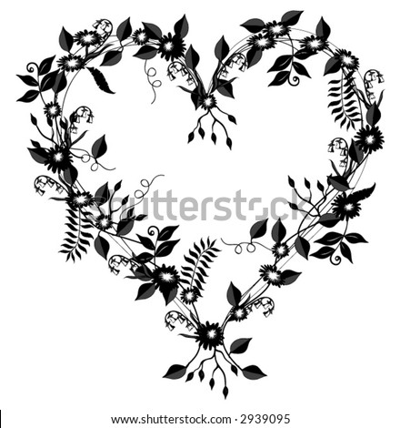Heart shaped vector flowers vines leaves stock vector 2939095 heart shaped vector with flowers vines and leaves in black over a white background mightylinksfo
