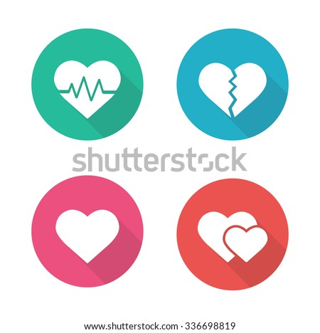 Heart shapes flat design icons set. Cardiology clinic logo concept. Long shadow pictograms. Heartbeat rhythm, broken heart, love sign, romantic relationship white silhouette vector illustrations - stock vector