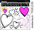 Heart shapes set (freehand drawing style) - stock vector