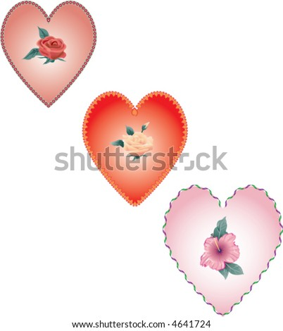 heart shapes with flowers - stock vector