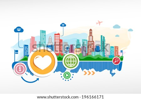 Heart sign and cityscape background with different icon and elements. Design for the print, advertising. - stock vector