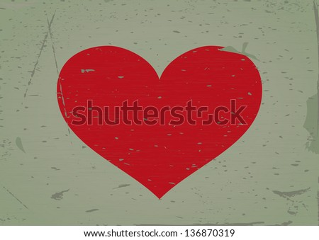 Heart sign grunge background. Vector illustration