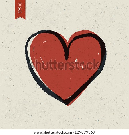Heart sign on paper texture. Vector, EPS10 - stock vector