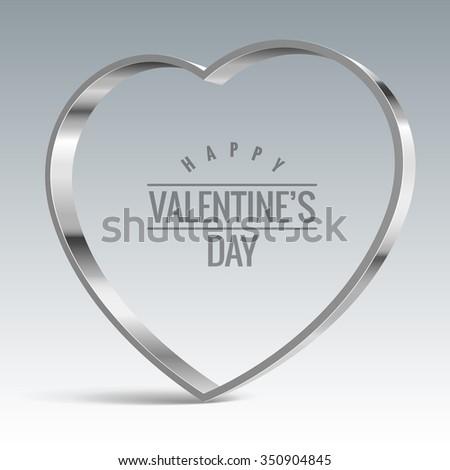 Heart sign. Shiny metal vector banner - stock vector