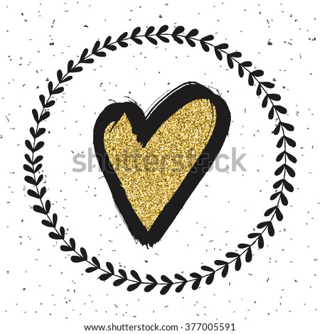 Heart sign. Surface decoration with gold texture.Vector illustration. Cloth print design, wallpaper, wrapping. - stock vector