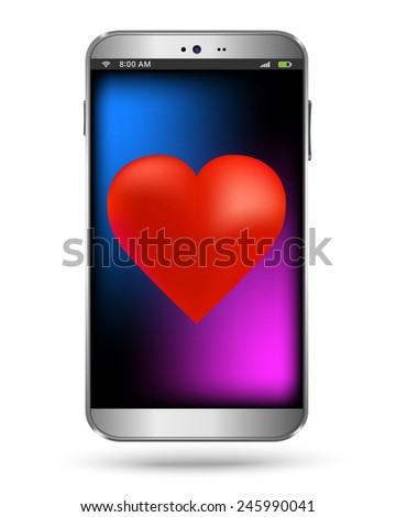 Heart smart phone on a white background - stock vector