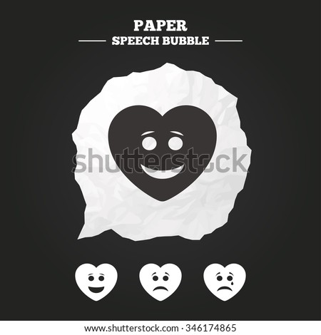 Heart smile face icons. Happy, sad, cry signs. Happy smiley chat symbol. Sadness depression and crying signs. Paper speech bubble with icon. - stock vector