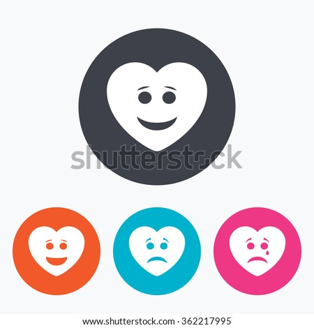 Heart smile face icons. Happy, sad, cry signs. Happy smiley chat symbol. Sadness depression and crying signs. Circle flat buttons with icon. - stock vector