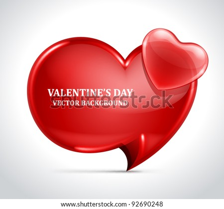 Heart speech bubble. Vector illustration eps 10. Easy replace background. - stock vector