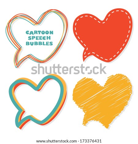 Heart speech bubbles. Vector illustration. - stock vector