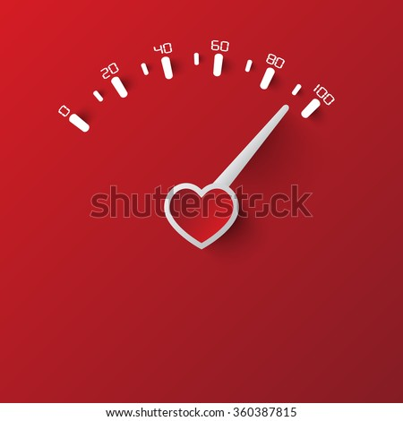 Heart Speedometer - stock vector