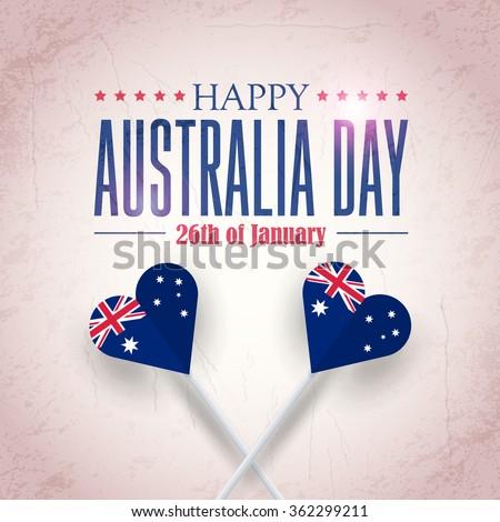 Heart Style Australia Flag, Retro Background of Australia Day, National Celebration Card, Grunge Badges Vector Emblem - stock vector