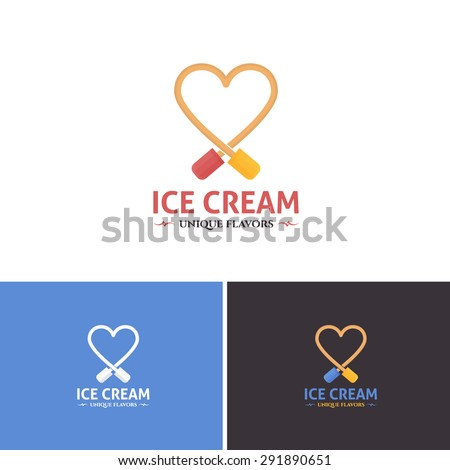 Heart Style Flat Ice Cream Vector Icons, Logos, Sign, Symbol Template  - stock vector
