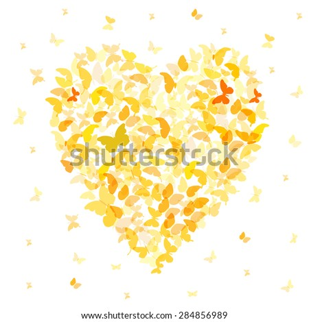 Heart - summer banner, card design, Colorful Yellow Orange butterfly on white background. Vector - stock vector