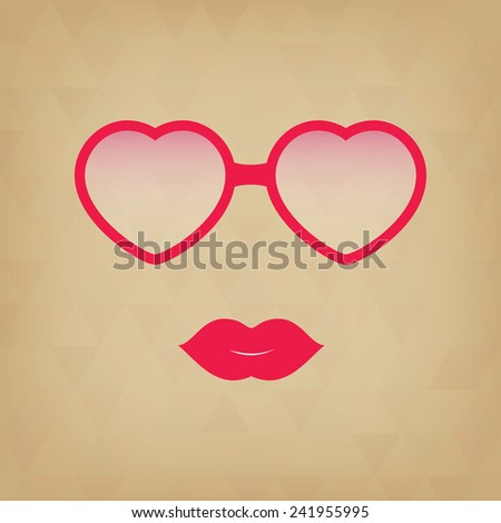 Heart Sunglasses And Lips.  Hipster girl. Vintage hipster background. Print for your T-shirts.