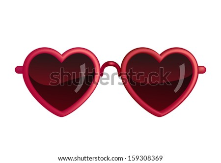 Heart Sunglasses Isolated On White - stock vector