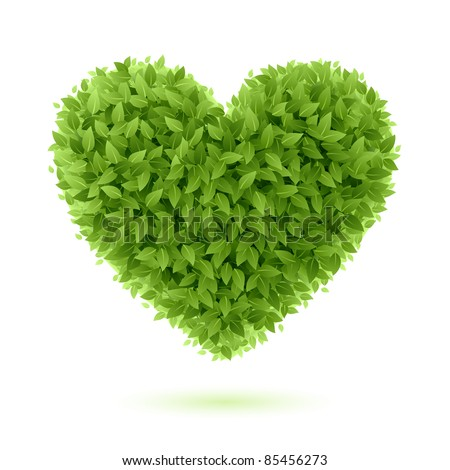 Heart symbol in green leaves. Vector.