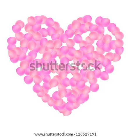 Heart symbol made out of petals