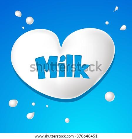 heart symbol - milk drops vector - stock vector