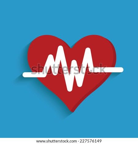 Heart symbol on blue background,clean vector - stock vector