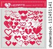 Heart symbols and icons set - stock vector
