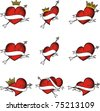 heart tattoo sticker set in vector format - stock vector