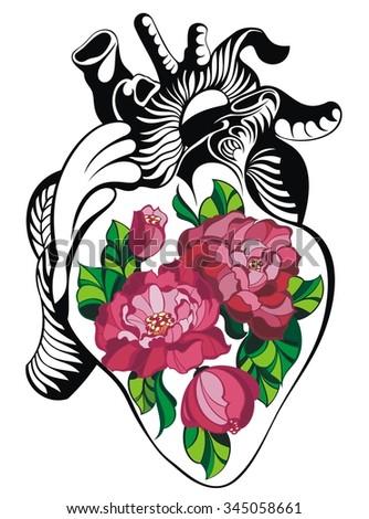 Heart tattoo with roses.Human heart - stock vector