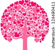 Heart tree with heart leaf  isolated on White background. Vector illustration - stock photo