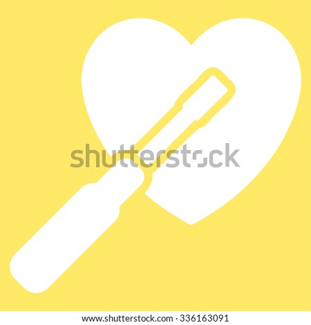 Heart Tuning vector icon. Style is flat symbol, white color, rounded angles, yellow background.