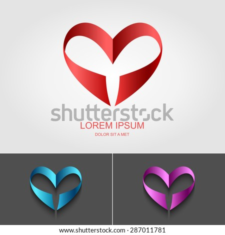 Heart Valentine ribbon vector logo design template, Looped shape, Infinity love concept for st. Valentine day icon, Vector illustration Eps 10 - stock vector