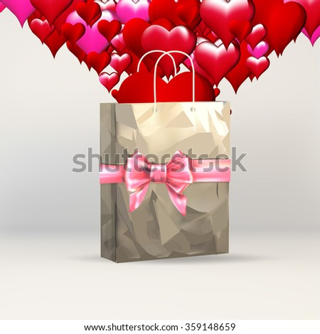 heart valentines, greeting template, gift packing ribbon on gift paper grocery bag, eco bag - stock vector