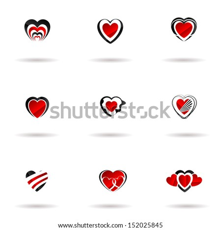 Heart Vector Icon Set - stock vector