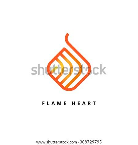Heart vector logo. Line art design template - stock vector