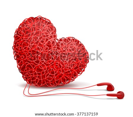 Heart weaved from variety of twisted red wires and earphones nearby, on white background. Listening to your heart concept - stock vector