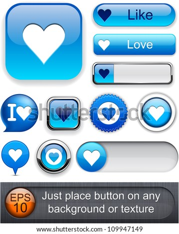 Heart web blue buttons for website or app. Vector eps10.