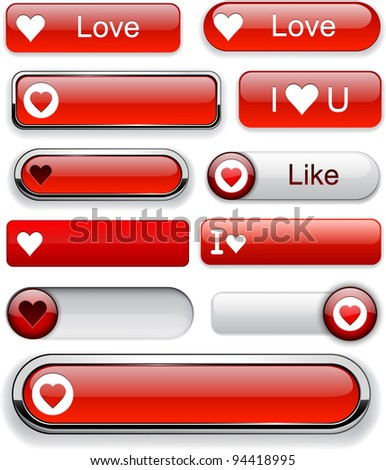 Heart web red buttons for website or app. Vector eps10. - stock vector