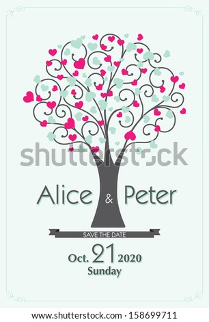 Heart Wedding Tree invitation, Save The date - stock vector
