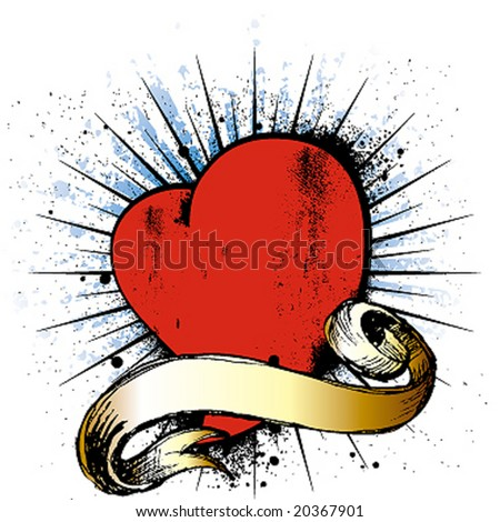 heart whit ribbon emblem - stock vector